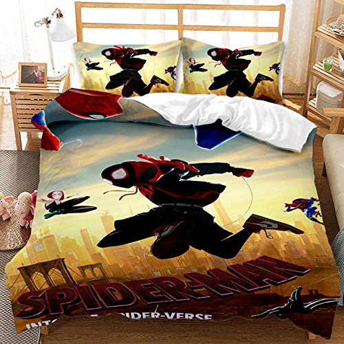 BLSM – Juego de cama animado Spiderman 2/3 piezas con funda nórdica para niños, 100% microfibra, para niños, niñas, adultos, dormitorio y apartamentos (A,135 x 200 cm)