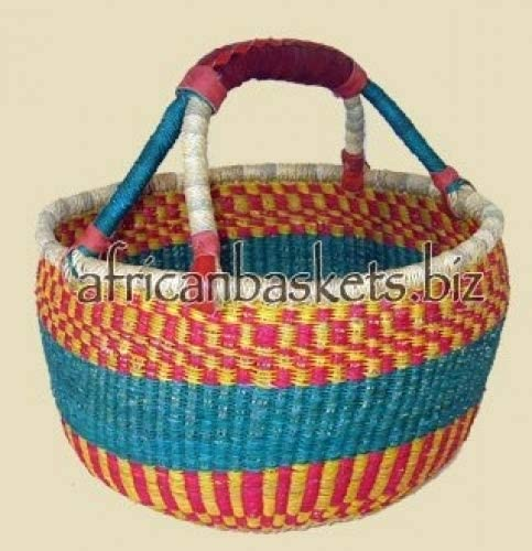Bolga Baskets International Medium Market Basket w Leather Wrapped Handle Colors Vary product image