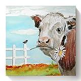 Beaxqb Pintura por números Bricolaje Vaca Animal Adultos niños Pintura por número Kits Mural Decoración hogareña 40x40cmSin Marco