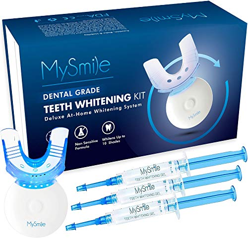 Teeth Whitening Kit with LED Light, 10 Minute Fast-Result Teeth Whitening Light, Carbamide Peroxide Teeth Whitener with 3 Non-Sensitive Teeth Whitening Gel to Removes Teeth Stain, Mouth Tray Included