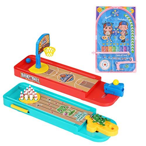 PRETYZOOM 3 Set Brettspiel Set Bowling Basketball Flipper Tischspiele Desktop Gruppenspiel Spielzeug Mini Finger Spielzeug Set