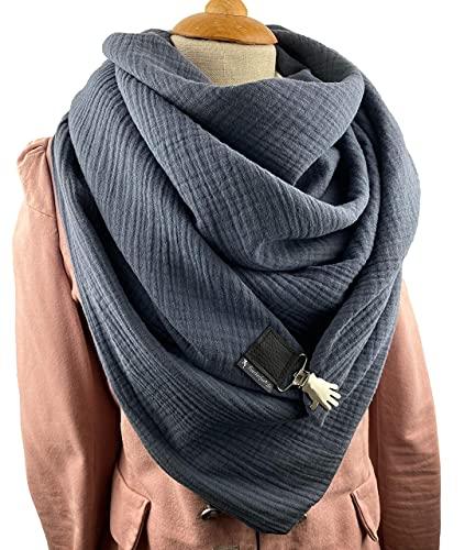 Musselin XXL Dreieckstuch/graues weiches Halstuch, Tuecherfee Schal, mit einem süßen Clip, wunderschön in dunkelgrau - Halstuch, XXL Tuch mit Verschluss, weiches Halstuch