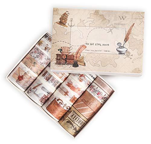 Miystn Washi Tape Set, Cinta Adhesiva de Colores, Washi Tapes Baratos, para Manualidades, Manualidades Decorativas, Envolver Regalos, álbumes de Recortes (1 Juego, Marrón)
