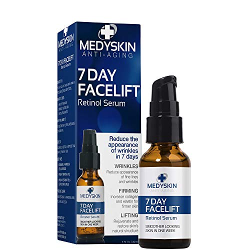 Retinol Serum, Anti-Aging 7 Day Facelift Reduce Fine Lines and Wrinkles, Rejuvenate and Restore Skin, Increase Collagen and Elastin for Firmer Skin for All Skin Types 1oz / 30ml