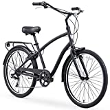 sixthreezero EVRYjourney Steel Men's Hybrid Bike with Rear Rack, 26 Inches, 7-Speed, Matte Black