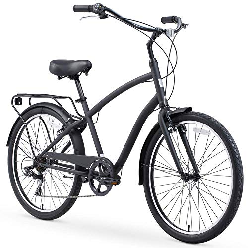 sixthreezero EVRYjourney Steel Men's Hybrid Bike with Rear Rack, 26 Inches, 7-Speed, Matte Black