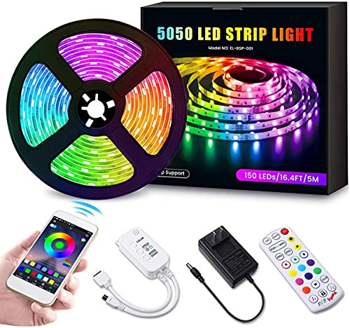 DUOLZ LED Strip Lights, RGB 5050 LED Strip Lights with 24-Key Remote Control APP Bluetooth Connection Sync Music, Suitable for Bedroom TV Home Kitchen DIY Decoration,5M 300 Lights