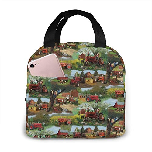 FARMALL TRACTOR Lunch Bag Cooler Bag Women Tote Bag Insulated Lunch Box Water-resistant Thermal Soft Liner Lunch Container for Picnic Travel Boating Beach Fishing Work
