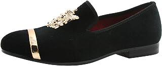 Mocassin Homme Velours Slip-on Loafers Métalliques Texturés Glitter Chaussures Pantoufle Noir Volet Bleu