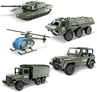 Die-cast Metal Military Car Playset Alloy Models Toy Vehicle Army Toys for Kids Toddlers Boys, 5 pcs