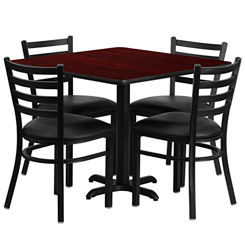 Flash Furniture 36'' Square Mahogany Laminate Table Set with X-Base and 4 Ladder Back Metal Chairs - Black Vinyl Seat