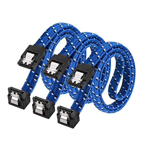 SATA III Cable,DanYee Nylon Braided SATA Cable III 6Gbps Straight HDD SDD Data Cable with Locking Latch 18 Inch Compatible for SATA HDD, SSD, CD Driver, CD Writer (3 Packs Blue)
