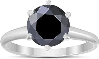2 Carat Round Black Diamond Solitaire Ring in 14K White Gold