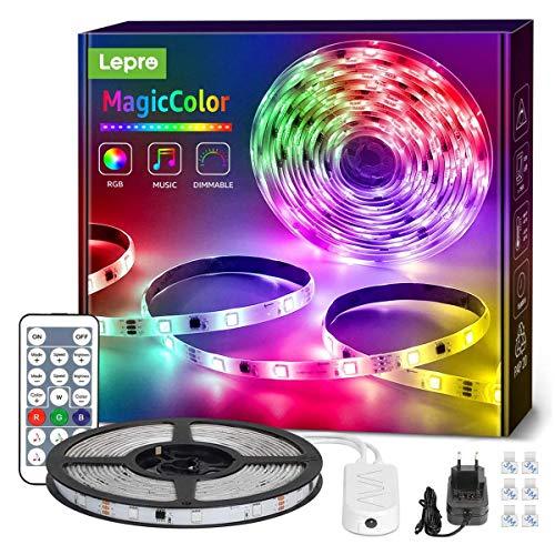 Lepro LED Strip 5M, LED Streifen Lichterkette MagicColor Musik mit Fernbedienung, Band Lichter Wasserdicht IP65, RGB Dimmbar Lichtleiste Light, Lichtband Leiste, Kette Bunt...