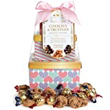 Thoughtfully Gifts, Cookie and Truffle Tower Gift Set, Includes Chocolate Chip Cookies, Milk Chocolate Truffles & Dark Chocolate Truffles