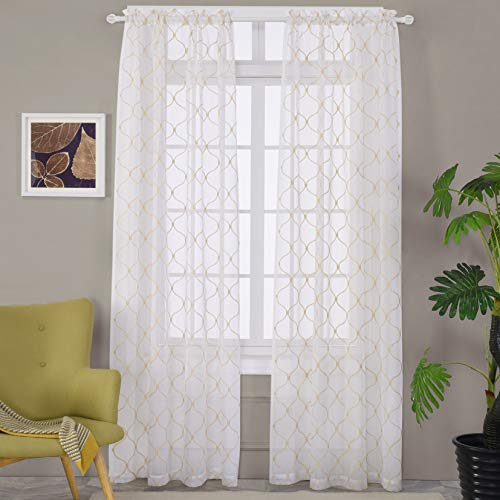 """MYSTIC-HOME Embroidery Gold Sheer Curtains 84 Inches Long, Rod Pocket Sheer Drapes for Living Room, Bedroom, 2 Panels, 52""""x84"""", Semi Crinkle Voile Window Treatments for Yard, Patio, Villa, Parlor."""