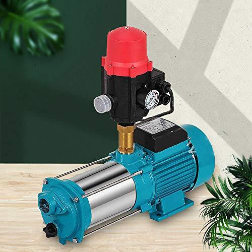 1300W Kreiselpumpe Hauswasserwerk Gartenpumpe selbstansaugend mit Druckschalter/Pumpensteuerung(Blau) (Schalter + Manometer + Kupfer 5-Wege)