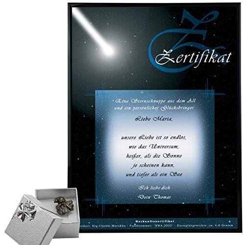 Sternschnuppe kaufen – Meteoriten mit Echtheits-Zertifikat – personalisiert mit Wunschtext für Partner/ Partnerin – Eisenmeteorit 10-15 Gramm mit Fundort – persönliche Valentinstagsgeschenke