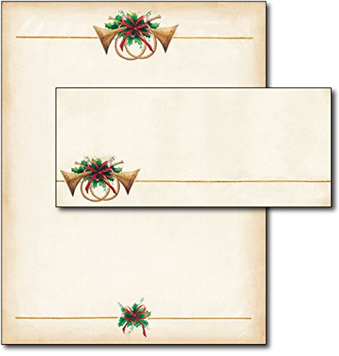 Antique Horns Christmas/Holiday Letterhead & Envelopes - 40 Sets
