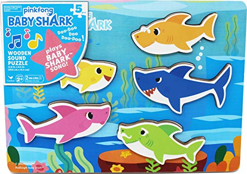 Spin Master Baby Shark Chunky Wood Sound Puzzle, Multicolor (6054918)