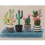 HGlSG DIY Pintar por números Planta de Cactus Pintar por numeros Paisaje con Pincel y Pintura acrílica, Pintura para Adultos por números, Accesorios de decoración par40x60cm(Sin Marco)