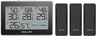 BALDR Digital Wireless Weather Station with 3 Remote sensors, Accurate Humidity Gauge & Temperature Tracking, Includes Built-in Stand and Hanging Slot, Black