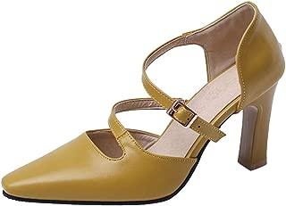 VulusValas Women Chunky Heel Pumps Shoes