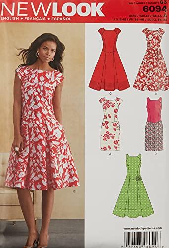New Look 6094 - Cartamodello Misura A (UK 8/10/12/14/16/18 - EU 4' - 50), Multicolore