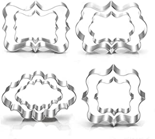 Jasonsy Plaque Cookie Cutter Set - 8 Piece - Square,Oval,Rectangle,Photo Plaques Frame Fondant Cutters -Stainless Steel(Assorted Sizes)