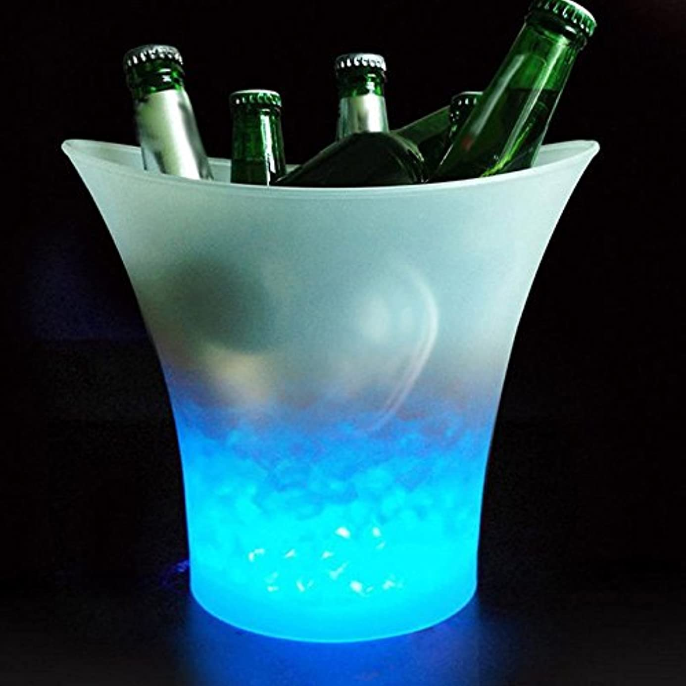 5L Glowing LED Ice Bucket Blue Light Champagne Wine Drink Beer Ice Cooler for KTV Party Bar cmr9744787