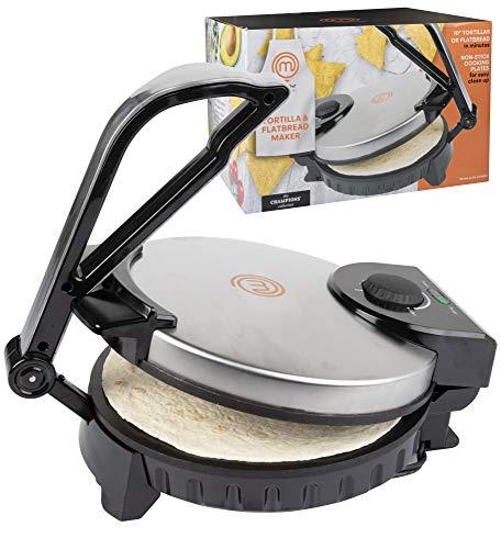 MasterChef Electric Tortilla Maker- Homemade Flatbread, Pitas, Tortillas- Heavy Duty, Non-stick Cooker Easier than Tortilla Press