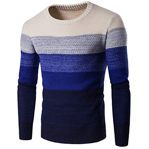 Mens Rib Stitch Casual Jumper Fashion Personalized Colorblocked Crewneck Slim Fit Autumn and Winter Warm Sweaters X-Large Blue