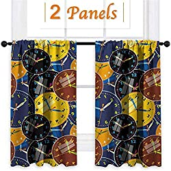 ParadiseDecor Clock Blackout Curtains Rod Pocket Hanging for Bedroom Yellow and Black A Pattern with Clock Faces on It Vintage Style Inspired Illustration Design 36x54 Inch