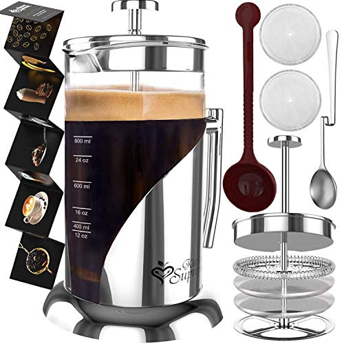 French Press Coffee Maker - BEST Presses Makers - 34 Oz, 8 Cup - The Only Encapsulated Lid Stainless Steel 304 NOT Plastic - 4 Level Filtration System & Double German Glass