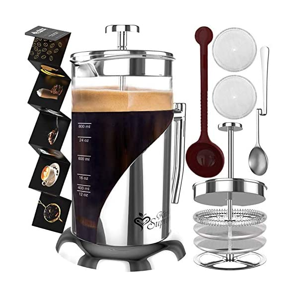 French Press Coffee Maker - 34 Oz, 8 Cup - 4 Level Filtration