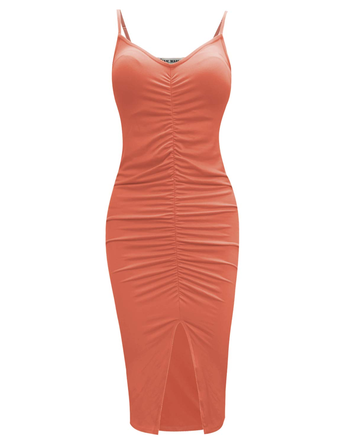 Available at Amazon: TAM WARE Women's Front Slit Ruched Spaghetti Straps Stretchy Bodycon Midi Dress