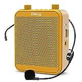 Giecy Amplificatore vocale portatile 30W Batteria ricaricabile 2800mah con microfono cuffia Sistema PA amplificatore vocale mini per insegnanti, guida turistica, allenatori(giallo)