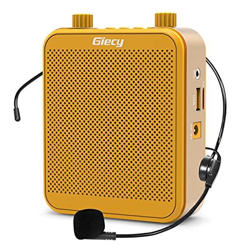 Giecy Amplificador de voz con micrófono Sistema de megafonía portátil 30W Batería recargable de 2800mah para profesores, formación, reunión, guía turístico (amarillo)