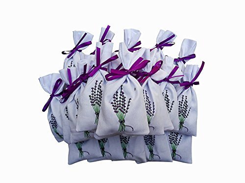 10 lavendel Strauß Muster Baumwolle Taschen, weiß Satin Kordelzug - leer bestickt 14 x 7.5 cm