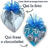 PieffeLine Cuore con cioccolatini e Foto personalizzatoe Frase Idea Regalo per...