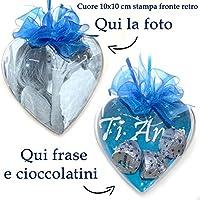 cuore con foto Lavorazione artigianale dimensioni 10cm Stampa doppia fronte/retro inserimento di cioccolatini (3 Bacetti oppure 2 Baci)