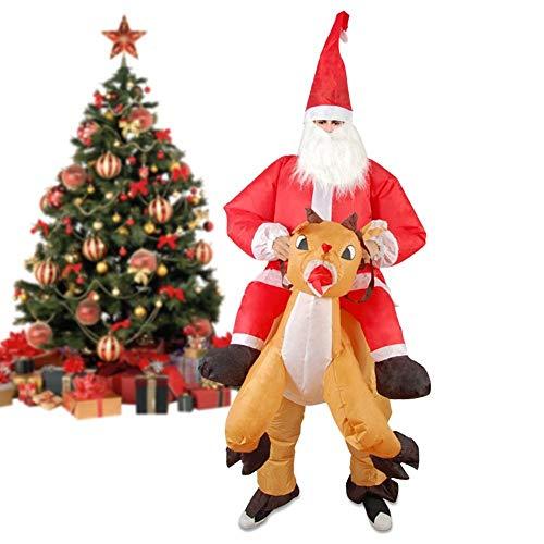 FENGZHO Costume Gonfiabile Di Natale Merryus Babbo Natale Renna Mount Suit Fancy Dress Festival Di Natale Cosplay Adulto!