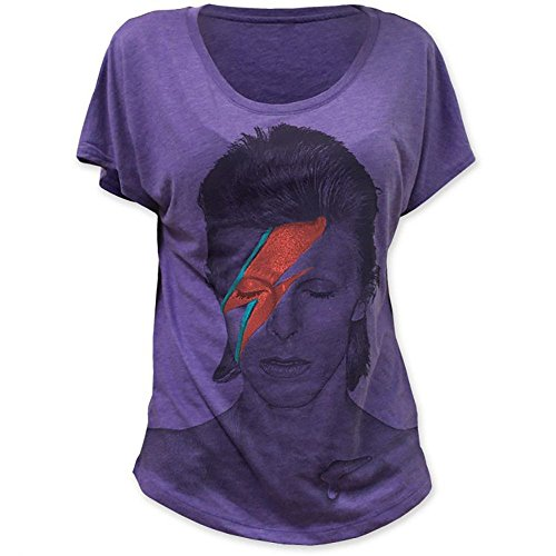 David Bowie Aladdin Sane Lightning Bolt Women's Girls Purple Heather Dolman T-Shirt (L)