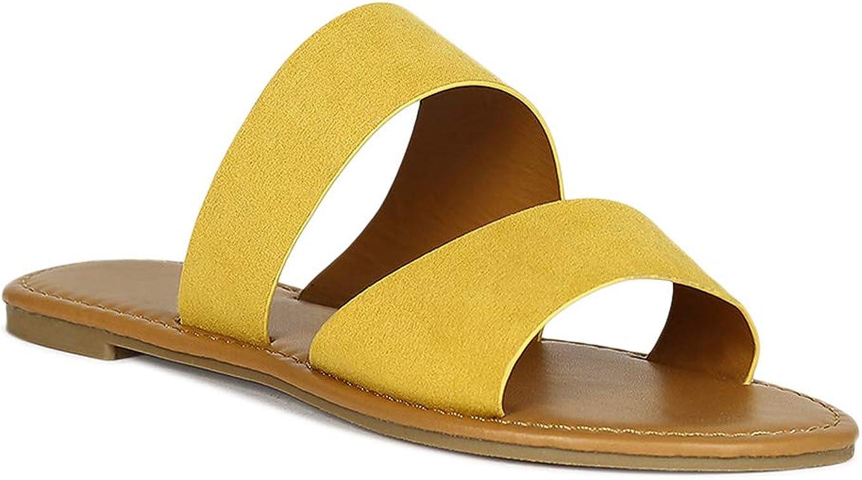 Alrisco Women Double Wide Band Open Toe Slide Flat Sandal RF13 - Yellow Faux Suede (Size: 6.0)