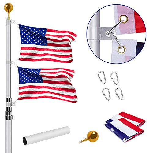 Telescoping Flag Pole Kit, 20FT Extra Heavy Duty Telescopic Flagpole Fly 2 Flags, Outdoor Aluminum Inground Flag Poles with 3x5 American Flag, Golden Ball Top for Residential,Yard or Commercial, Silve