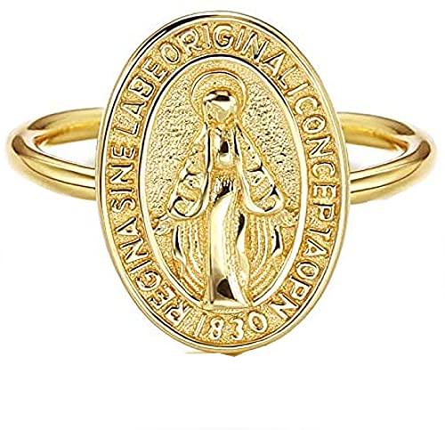 Anillo de Plata de Ley 925 Anillo Ajustable para Mujeres Hombres Chapado en Oro de 18K Hipoalergénico