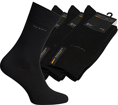 6er Pack camano Socken Strümpfe Business-Socken Schwarz 3642-05, Größenauswahl:39 - 42