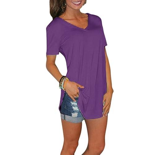 2d4b823d7f03 Romacci Women s Short Sleeve T-Shirt Solid Color V Neck Long Casual Tops