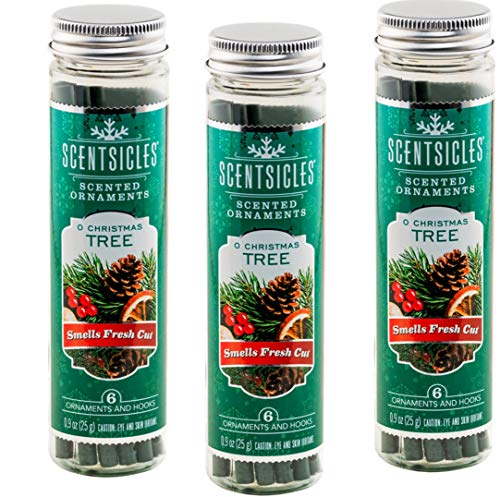 Scentsicles O Christmas Tree Scented Ornaments with Hooks - 3 Bottles (18 Sticks Total)