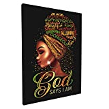 African American Wall Art Black Queen Canvas Wall Art Decor For Bedroom Bathroom Black Girl Pictures Framed Wall Art Decor God Says I Am 12x16 Inch